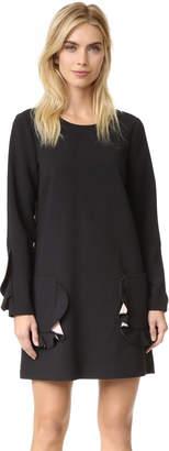 BCBGMAXAZRIA Ruffle Pocket Long Sleeve Dress $268 thestylecure.com