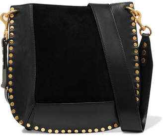 Isabel Marant Oskan Studded Leather And Suede Shoulder Bag - Black