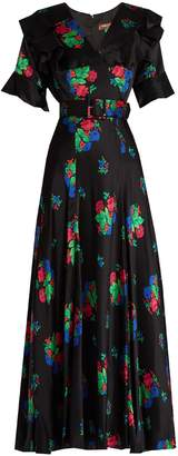 DURO OLOWU Floral-print short-sleeved silk-satin dress