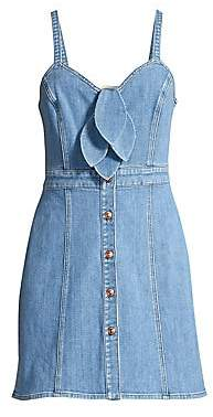 7 For All Mankind Women's Double Bow Tie-Front Denim Dress