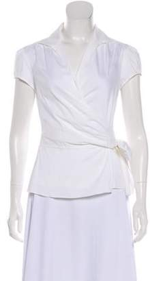 Lafayette 148 Collared Wrap Blouse w/ Tags Cream 148 Collared Wrap Blouse w/ Tags