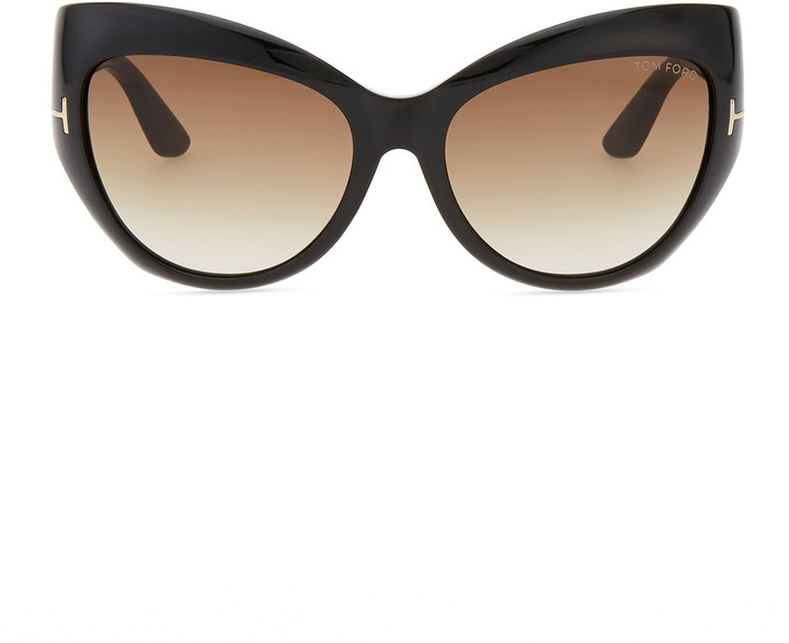 Tom Ford Bardot Sharp Cat-Eye Sunglasses, Black