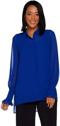 Susan Graver Sheer Chiffon Button Front Big Shirt and Knit Tank Set