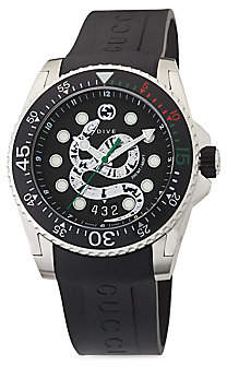 ad0e2544699 Gucci Diver Dive 45MM Stainless Steel King Snake Dial with Rubber Strap