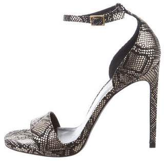 Saint Laurent Embossed Ankle Strap Sandals