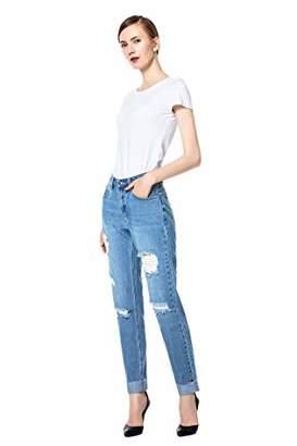 39bd1542393 Rainbow Denim Women s Juniors Distressed Slim Fit Stretchy Skinny Jeans (L)  .