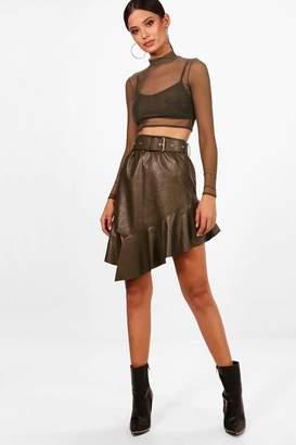 boohoo Abi PU Ruffle Belted Midi Skirt