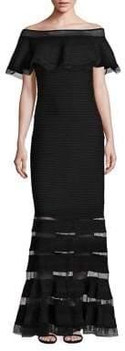 Tadashi Shoji Off-The-Shoulder Ruffle Gown
