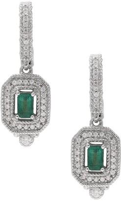 Judith Ripka Sterling Emerald & Diamonique Lever Back Earring