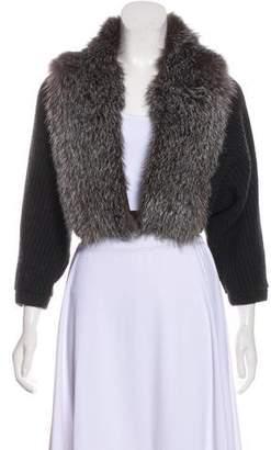 Brunello Cucinelli Cashmere Fox Fur-Trimmed Shrug