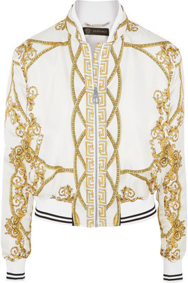 Versace - Printed Silk-twill Bomber Jacket - White $1,950 thestylecure.com