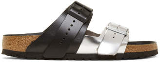Rick Owens Black and Silver Birkenstock Edition Arizona Rotterdam Sandals