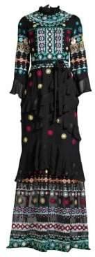 Saloni Marissa Long Embroidered Maxi Dress