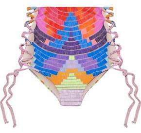 Mara Hoffman Lace-Up Printed High-Rise Bikini Briefs