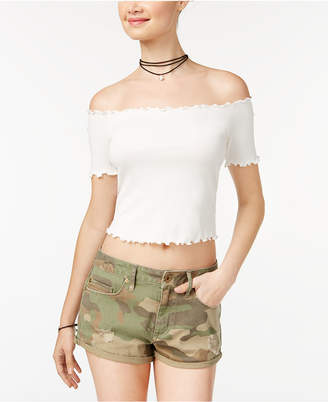 American Rag Juniors' Ruffled Off-The-Shoulder Crop Top, Created for Macy's $29.50 thestylecure.com