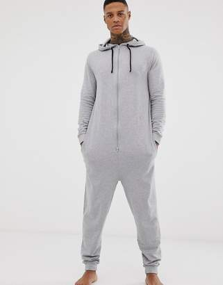 Asos Design DESIGN hooded onesie in gray marl in organic cotton