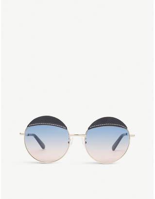 Loewe Leather-detail round-frame sunglasses