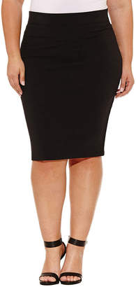 Boutique + + Knit Pencil Skirt - Plus