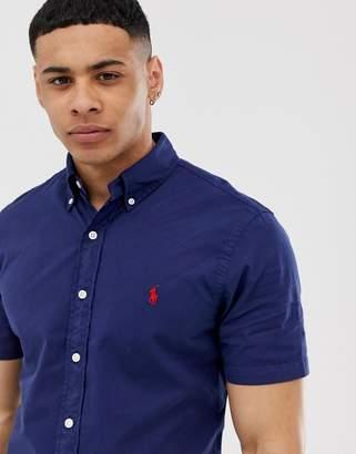 Polo Ralph Lauren player logo short sleeve lightweight twill shirt slim fit in navy