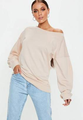 Missguided Nude Off Shoulder Sweatshirt