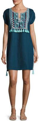 Seafolly Embroidered Coverup Linen Dress W/ Tassels $202 thestylecure.com