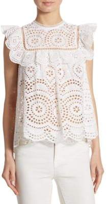 Zimmermann Meriddian Cotton Embroidered Top