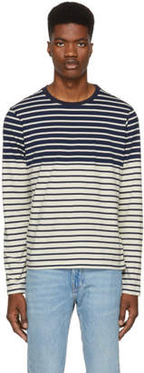 J.W.Anderson Navy and Off-White Multistripe T-Shirt
