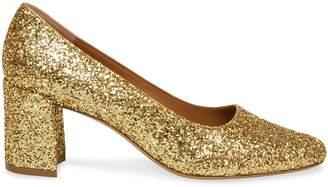 Mansur Gavriel Glitter Square Toe Heel - Gold