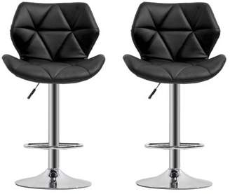 Quitin Modern 2 Pcs PU Leather Swivel Adjustable Height Dinning Chair Barstools Chair
