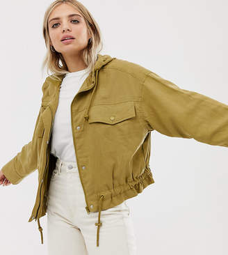 Weekday lightweight hooded bomber jacket with drawstring in olive green