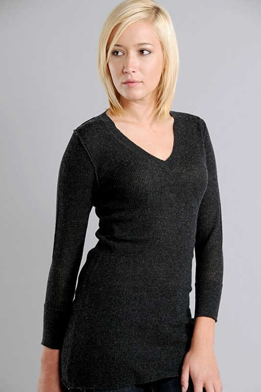 James Perse Cashmere V-Neck Thermal Sweater