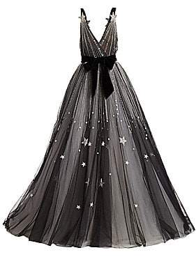 Monique Lhuillier Women's V-Neck Star Belted Ball Gown
