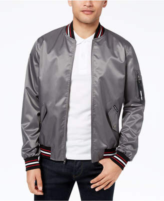 Members Only Men's Striped-Trim Lightweight Bomber Jacket