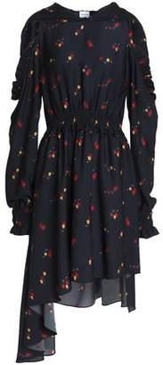 Magda Butrym Funchal Cold-Shoulder Floral-Print Silk-Crepe Hooded Dress