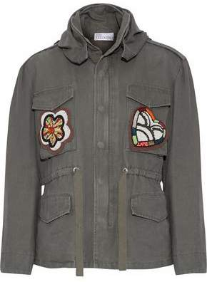 RED Valentino Appliquéd Cotton-Canvas Hooded Jacket