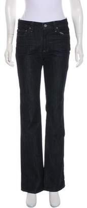 Paige Denim Logo Embellished Mid-Rise Wide-Leg Jeans