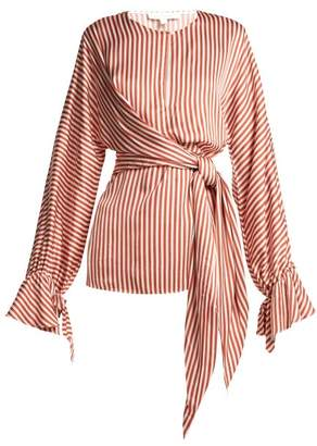 Jonathan Simkhai Stripe Twist Front Shirt - Womens - Red Stripe
