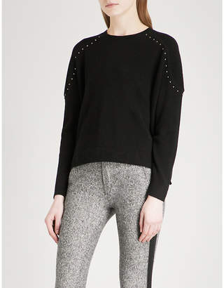 The Kooples Stud applique wool and cashmere-blend jumper