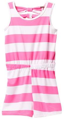 Poof Rugby Stripe Bow Back Romper (Big Girls)
