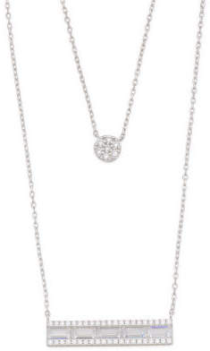Sterling Silver Double Layer Cz Necklace