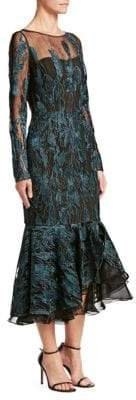 David Meister Women's Embroidered Fishtail Dress - Teal Black - Size 8