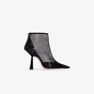 Jimmy Choo black Kix 100 patent mesh ankle boots