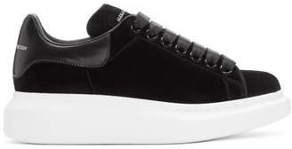 Alexander McQueen Black Velvet Oversized Sneakers
