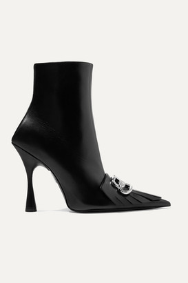Balenciaga Knife Fringed Logo-embellished Leather Ankle Boots - Black