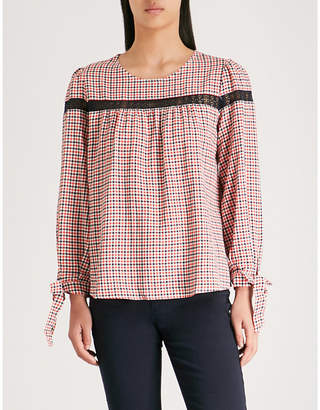 Claudie Pierlot Woven checked-print long-sleeved top