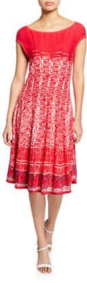 Nic+Zoe Garden Party Printed Boat-Neck Cap-Sleeve Dress