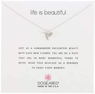 """Dogeared Reminders- """"Life Is Beautiful"""" Dipped Sterling Silver Hummingbird Charm Necklace"""