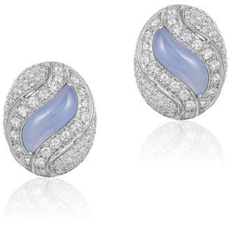 Andreoli 18k White Gold, Diamond & Purple Chalcedony Earrings
