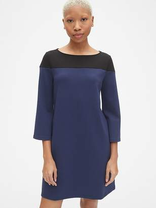Gap Long Sleeve Colorblock Shift Dress in Ponte