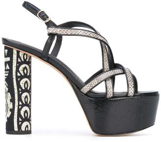 Jean-Michel Cazabat platform python effect strap sandals